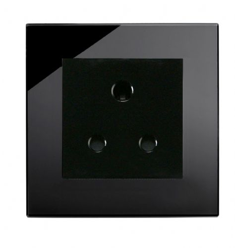 RetroTouch Single 5 Amp Round Pin Plug Socket Black Glass PG 04004